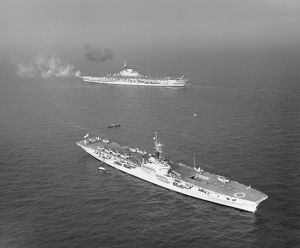 HMS Implacable and HMS Vengeance, February 1950