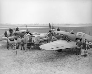 Re-arming Hurricanes of 610 Squadron